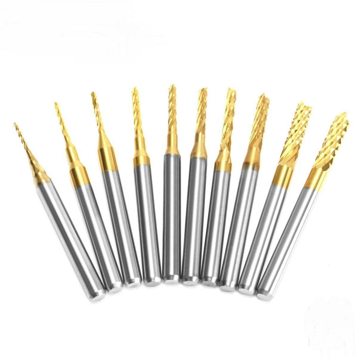 Mohoo 10pcs 1.5mm-3.175mm Carbide End Mill Engraving Bits For CNC Rotary Burrs