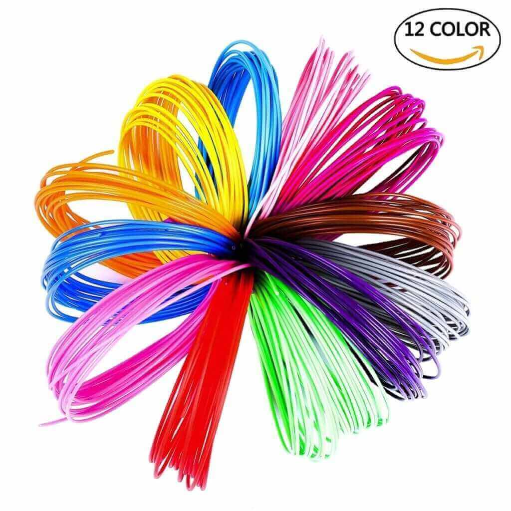 ISIYINER Rainbow Pack of Environmental PLA 3D Pen Filament Refills,for 3D Printing Pens & 3D Printers-12 Colors(PLA 1.75MM/5M)
